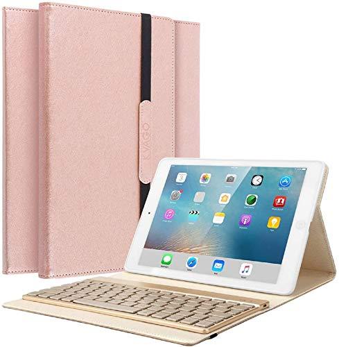 KVAGO iPad 9.7 Tastatur Hülle, iPad 9.7 Case mit 7 Farbe Hintergrundbeleuchtung Ultra-dünn QWERTZ Bluetooth Tastatur und Auto Schlaf/Aufwach Funktion für Apple iPad 9.7 Zoll 2017/2018 - Rose Gold