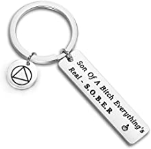 CENWA Sober AF Recovery Gift AA NA Alcoholics Anonymous Narcotics Anonymous Sobriety Gift Son of A Bitch Everything's Real Sober Keychain Anniversary Years Sober Gift