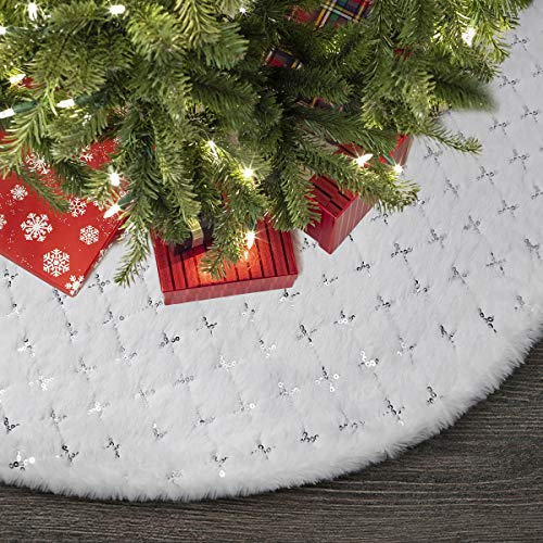 Townshine 48 Inch White Christmas Tree Skirt Faux Fur Silver Large Fur Tree Skirt Soft Thick Plush Mat Xmas Holiday Party Decorations … (Star White Fur Tree Skirts)
