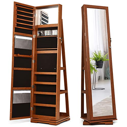 CHARMAID 360° Rotating Jewelry Armoire with Higher Full Length Mirror, Standing Lockable Jewelry Cabinet Organizer with Large Storage Capacity, Inside Makeup Mirror, Rear Storage Shelves (Walnut)