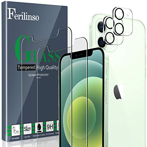 Ferilinso [4 Pack] 2 Pack Screen Protector for iPhone 12 with 2 Pack Camera Lens Screen Protector [Tempered-Glass] [Military Protective] [HD Clear] [Case Friendly] [Anti-Fingerprint] [Anti-Scratch]
