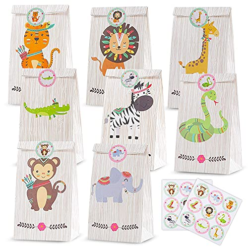 KKTICK 24 unidades de papel de regalo, bolsas de regalo de Navidad, cumpleaños infantiles, bolsas de dulces con pegatinas, bolsas de papel con animales del bosque, juego para regalos, bodas, Pascua