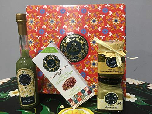 Confezione Specialità con PISTACCHIO VERDE DI BRONTE D.O.P. Prodotti Tipici Siciliani, Cioccolata di Modica IGP