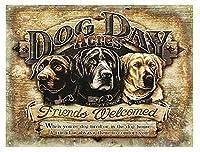 アメリカ雑貨 ブリキ看板 DOG DAY ティンサイン ビンテージ風 四角型 看板 壁掛け ショップ ガレージ インテリア 壁面装飾 おしゃれ ポスター アンティーク