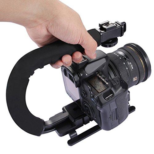 Suporte de Câmera em Formato de C com Alça Estabilizadora em Formato de U de Plástico, sistema de disparo em baixa posição e estabilizador de aderência, compátivel com DSLR, SLR, Câmeras de fotografia e Vídeo DC