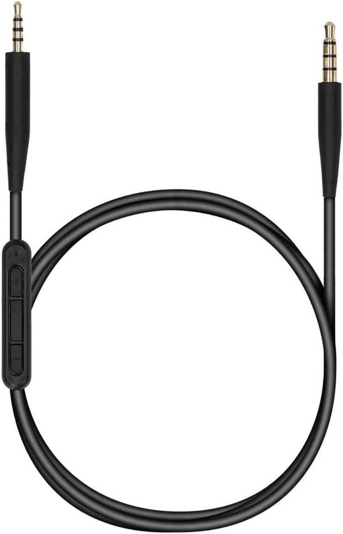 kwmobile Cable de 150 CM Compatible con Bose QuietComfort 35 - Cable para Cascos con micrófono y Conector Negro