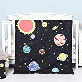 TILLYOU 4-Piece Space Theme Crib Bedding Set for Boys, Luxury Nursery Bedding Essential Including 1 Padded Comforter, 1 Crib Skirt and 2 Silky Soft Microfiber Crib Sheets, Standard Size, Black