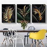 RAILONCH 3er Set Moderne Wandbild Poster, Botanik Goldene