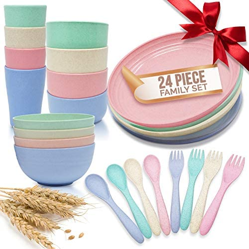 Unbreakable Wheat Straw Lightweight Dinnerware Sets 24pcs Small Large Bowls Plates Cups Forks product image