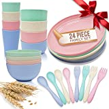Unbreakable Wheat Straw Lightweight Dinnerware Sets (24pcs) - Small & Large Bowls, Plates, Cups, Forks & Spoons - Great for Children & Elderly - Indoor & Outdoor Use - Dishwasher and Microwave Safe