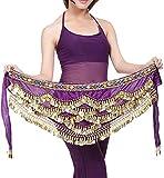 Pañuelo de Danza del Vientre Mujer Baile Oriental Bufanda Falda Cinturón de Cadera con 271 Monedas Lentejuelas (ZP142-morado, Talla única)