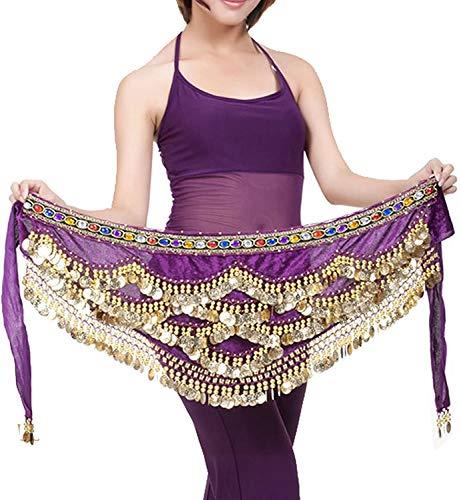 Pañuelo de Danza del Vientre Mujer Baile Oriental Bufanda Falda Cinturón de Cadera con 271 Monedas Lentejuelas