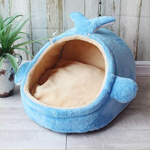 Luck7DB Huisdier Zwinger Huisdier Zwinger Huis Kleine en middelgrote hondenbed Teddy Kat Hondenzwinger Vier herfst en winter Warm poppenbed Small blauw