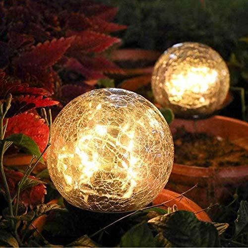 Qiao HAO Solar Lights Garden Decorative 2 Pack,Solar Lights Outdoor Globe Waterproof,Solar Laterns Ball Warm White LED,Cracked Glass Jar Garden Light,Court,Yard,Patio,Pathway