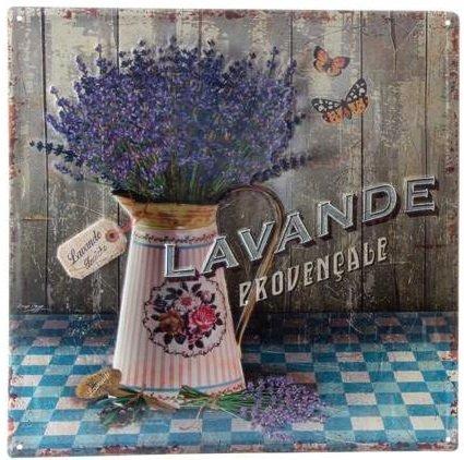 AVENUELAFAYETTE Cadre Tableau Plaque Murale métal Lavande - Provence - Vintage rétro - 38 x 38 cm (Lavande provençale)