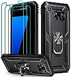 ivoler Funda para Samsung Galaxy S7 + [Cristal Vidrio Templado Protector de Pantalla *3], Anti-Choque Carcasa con 360 Grados Anillo iman Soporte, Hard Silicona TPU Caso - Negro