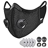 HONYAO Reusable Dust Face Mouth Sport Mouth, Adjustable Protective Mouth with 4 Carbon Filter for Cycling, Running, Outdoor Sports (Black)