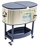 "Rolling Cooler Cart on Wheels | New! Margaritaville Stainless Steel Blue ""Chill Palm"" 82 Quart 100+ Can Cooler"