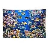 Manta Tapiz Para Colgar En Pared,Acuario Colorido Con Diferentes Peces Nadando, Estera Picnic Decoración Sala Estar,40x60'
