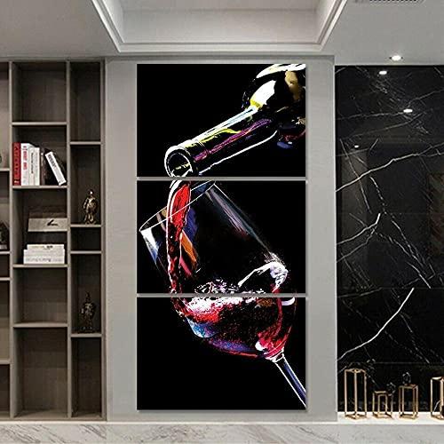 SGDJ Botella de Vino Impresiones en Lienzo Pintura Decoración para el hogar Arte de la Pared Posters 3 Piezas con Marco