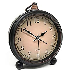 Vintage Retro Analog Alarm Clock, 4 inch Super Silent Non Ticking Small Clock with Night Light, Battery Operated, Simply Design, for Living Room, Bedroom, Bedside, Desk, Gift Clock (Arabic)