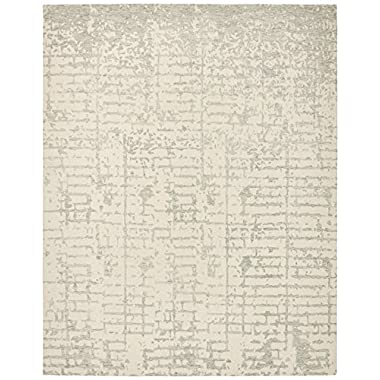 Rivet Contemporary Linear Distressed Wool Rug, 5' x 8', Grey