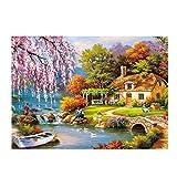 Puzzle 1000 Pièces Adultes Peinture à l'huile Paysage Rural Maison de Campagne Jouets Cadeaux éducatifs Pour les Vacances Pour la Famille et Les Amis