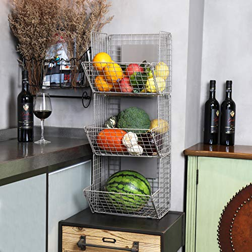 X-cosrack Wall Mounted Wire Hanging Basket, 3 Tier Metal Wall Storage Basket Organizer with Chalkboards, Office Garage Storage Kitchen Fruit Produce Rack, Industrial Style, Gray