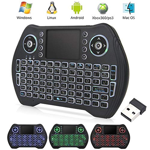 EASYTONE Backlit Mini Wireless Keyboard With Touchpad Mouse Combo and Multimedia Keys for Android TV Box HTPC PS3 XBOX360 Smart Phone Tablet Mac Linux Windows OS,New Model Mini Keyboard Touchpad Mouse