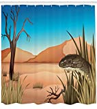 ABAKUHAUS Schlange Duschvorhang, Wüste Tropische Natur, mit 12 Ringe Set Wasserdicht Stielvoll Modern Farbfest & Schimmel Resistent, 175x180 cm, Mehrfarbig