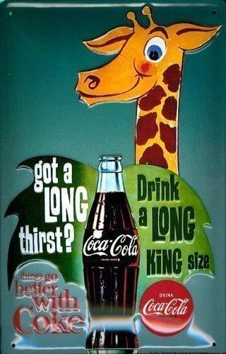 Coca cola girafe rahmenlos plaque en tôle signe de tin en métal de 20 x 30 cm