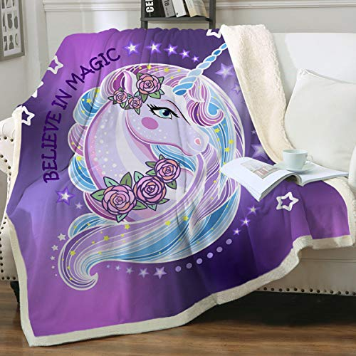 Sleepwish Unicorn Sherpa Fleece Blanket Purple Aqua Pony Throw Blanket Magical Horse Print Plush Blanket for Sofa Clair Bed Office (Twin 60'x80')