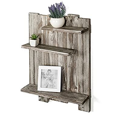 MyGift Rustic Torched Wood Pallet-Style Wall Mounted 3-Tier Decorative Display Shelf