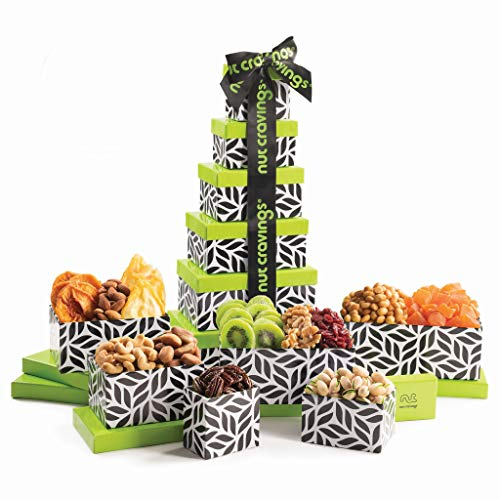 Gourmet Nut & Dry Fruit Leaf Tower Gift Basket (12 Variety) - Healthy Food Arrangement Platter, Birthday Edible Care Package Tray - Fathers Day Snack Box for Dad, Adults, Women & Men - Prime Delivery