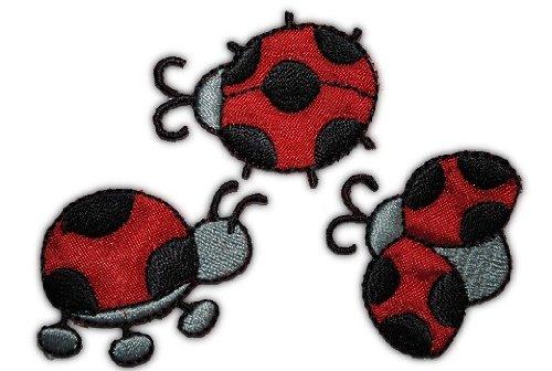 alles-meine.de GmbH 3 er Set Marienkäfer 4,3 cm * 3 cm Bügelbild Aufnäher Applikation Kinder Insekt