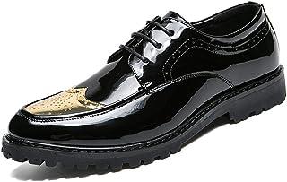 Calzado de ala de negocios casual Elegante cómodo de los hombres Transpirable Negocio Oxford Casual Nuevo estilo Moda personal Color a juego Patentes Brogue de cuero Brogue Wingtip Calzado de ala de d