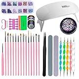 40 Pcs Nail Art Brushes Set,Pintura Línea Herramienta Pinceles de Acrílico UV Gel Juego de Decoración de Uñas,Con Pinceles/Pegatinas para el Arte y la Uñas (Blanco)