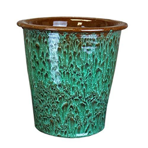 Lifestyle & More moderne plantenbak vaas voor bloemen van keramiek in de kleur groen 19x19x19 cm