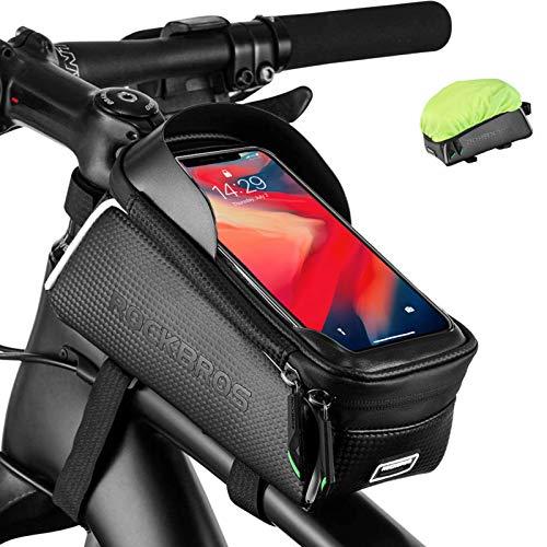 ROCKBROS Borsa Telaio Bici Borsa Impermeabile Manubrio per Bici MTB BMX Support Cellulare TPU Touchscreen 6.5 Inches Copertura Anti-Pioggia in Regalo 1.5L