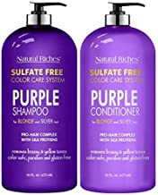 Natural Riches Purple Shampoo and Conditioner Set Sulfate Free Salon Grade for Silver Blonde and Platinum Hair. Removes Yellow & Brass tones. Blonde Shampoo for Silver Grey Highlighted Hair 16x2 fl oz