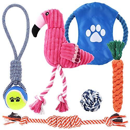 Petbobi Dog Toys Dog Teething Toys Best Puppy Chew Toys Plush Dog Chew Toys Squeaky Toys Set Rope with Balls 6 pcs (Pink)