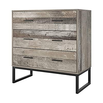 Wide Dresser with 3 Drawers, Storage Chest with Solid Wood Frame and Steel Legs, Drawer Chest End Table Cabinet, Double Handles and Wide Storage Space for Home Office, 31.5 x 15.6 x 32 Inch