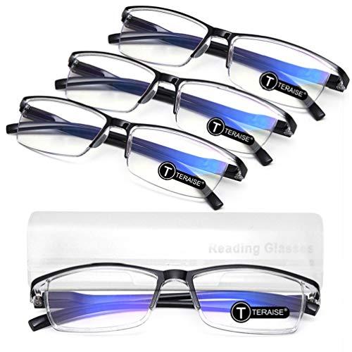 TERAISE 4PCS Moda Gafas de lectura con luz anti-azul Lectores de calidad Gafas para lectura para hombres y mujeres Computadora/teléfono celular Bloqueo de luz azul Gafas de lectura Marco