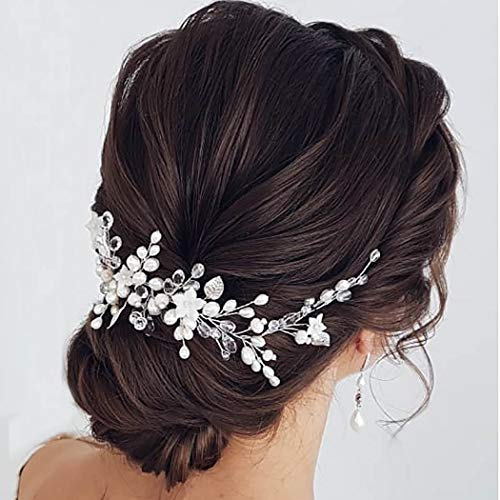 Easedaily Flower Bride Hair Vine Silver Pearl Hair Piece Leaf Headband Crystal Headpieces Bridal Hair Accessories for Women and Girls
