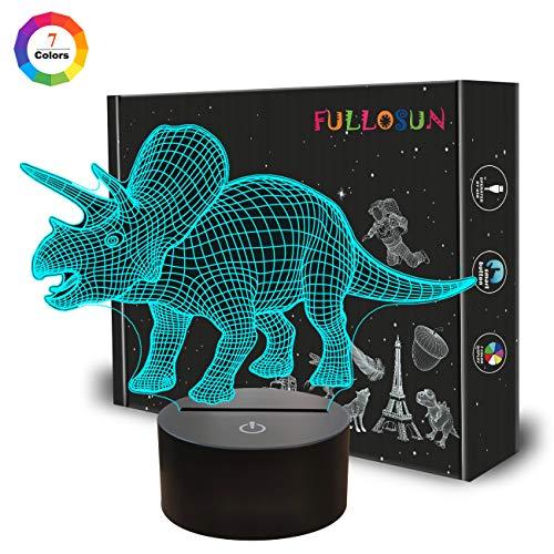 Nachtlichter für Kinder Triceratops Dinosaurier 3D Nachtlicht Nachttischlampe 7 Farbwechsel mit Touch Control Batteriebetrieben Beste Geburtstagsgeschenke für Jungen Mädchen Kinder Baby