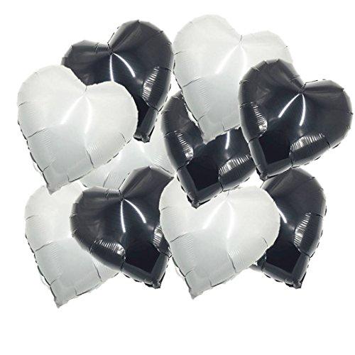 ballonfritz® Herzballons Set in Schwarz und Weiß / Black and White 10-TLG. - XXL 18'...