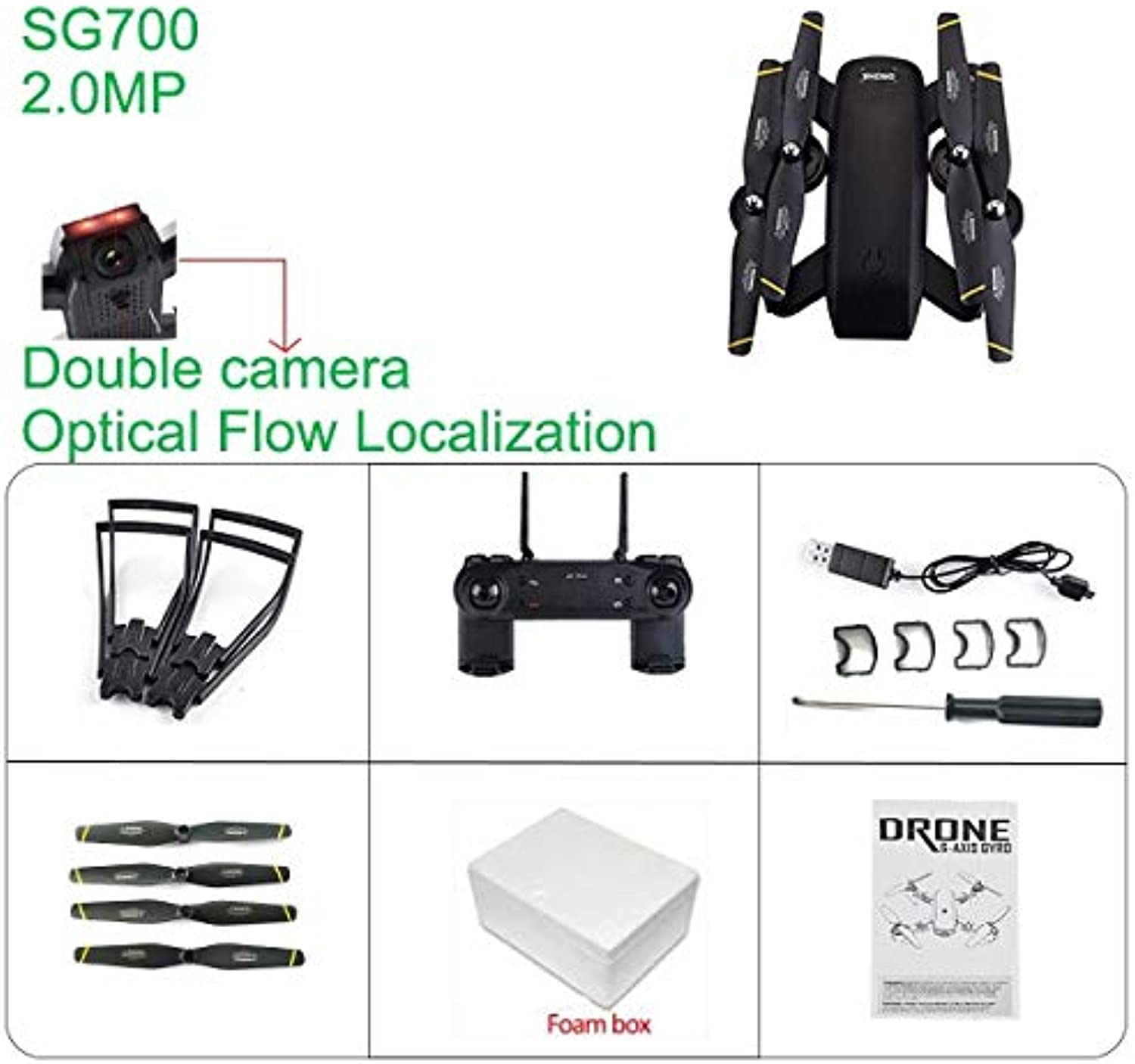 Generic VR SG700 RC Quadcopter Drone with Camera HD FPV Drone WiFi Phone Control Live Video Photo RC Toys VS E58 YH19HW Double Cameras F350853