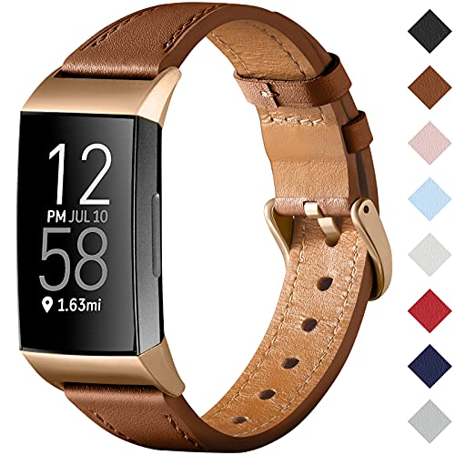 CeMiKa Correa Compatible con Fitbit Charge 4 Correa/Fitbit Charge 3 Correa, Correa de Cuero Genuino Reemplazo de Pulsera para Charge 3/Charge 4 Tracker, Mujeres Hombres