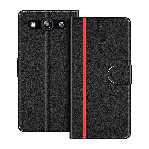 COODIO Handyhülle für Samsung Galaxy S3 Handy Hülle, Samsung Galaxy S3 Hülle Leder Handytasche für Samsung Galaxy S3 / Galaxy S3 Neo Klapphülle Tasche, Schwarz/Rot