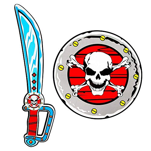 Widmann 97307 - Piratensäbel und Schild aus weichem Schaumstoff, für Kinder, Piraten, Spielschwert, Waffe, Mottoparty, Karneval